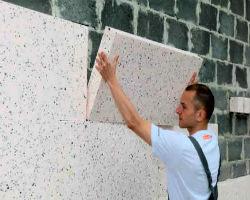 Монтаж пенополистирольных плит на стену