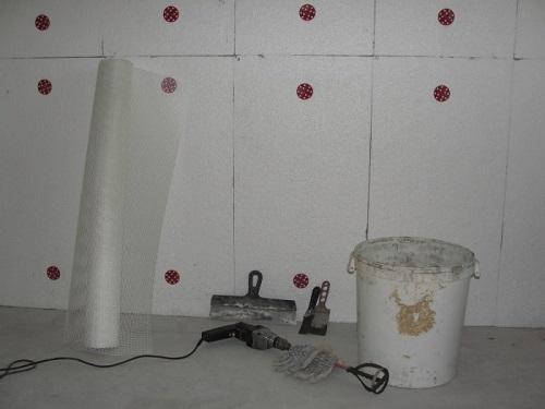 Оштукатуривание пенопласта с применением армирующей сетки