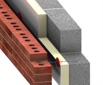 Схематическое изображение с примером крепления минераловатных плит Роквул Кавити
