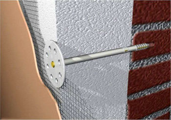 Схематический рисунок крепления пенопласта тарельчатыми дюбелями