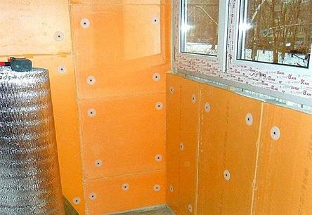 Стена и перегородка лоджии, утепленные Пеноплексом