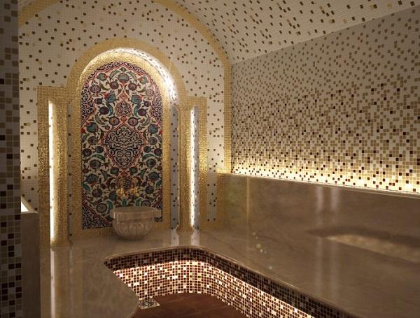 Хаммам с настенным освещением