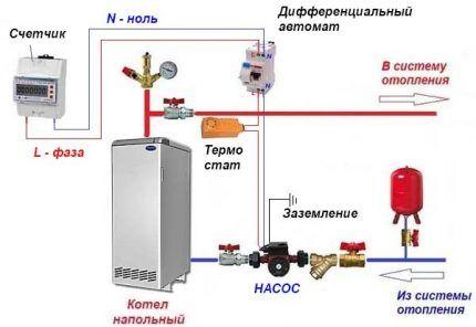 Схема подключения с термостатом