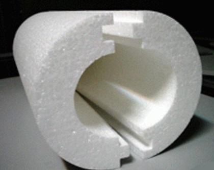 Разъемная теплоизоляционная скорлупа из пенопласта с пазами