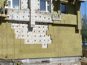 Наружная отделка фасада дома минераловатными плитами