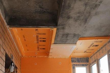 Потолок лоджии, утепленный Пеноплексом