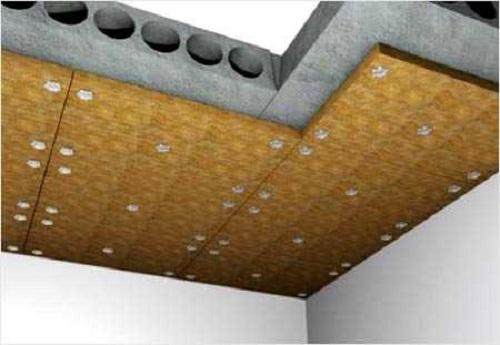 Монтаж звукоизоляционных плит на бетонное перекрытие