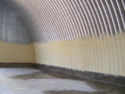 Ангар, частично утепленный ППУ изнутри