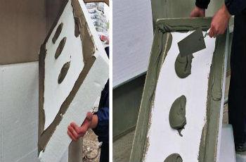 Нанесение цементно-полимерного клея на плиту пенопласта