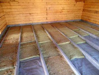 Утепление каменной ватой пола в деревянном доме
