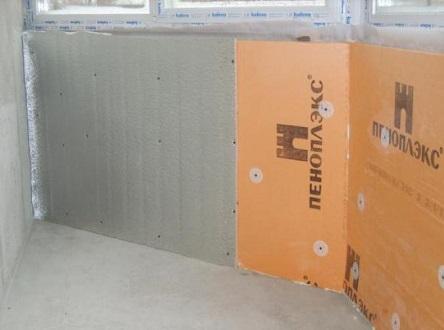 Утепление стен балкона изнутри Пеноплексом