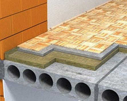Утепление бетонного перекрытия с помощью Роквул Флор Баттс